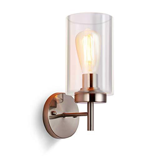 SISVIV Apliques a Velas Vintage Interior Lámpara de Pared Industrial in Vidrio Apliques de Pared Rústico Retro Iluminación Luz para Cocina Restaurante Café Dormitorio Corredor E27 Plata