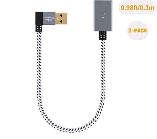 USB 3.0 Verlängerungskabel Kurzes, CableCreation [2er-Pack] Rechtwinkliges USB 3.0-Verlängerungskabel Stecker zu Buchse, Kompatible mit Flash-Laufwerke, Oculus VR, Xbox,Keyboard,Scanner usw, 30cm/Grau