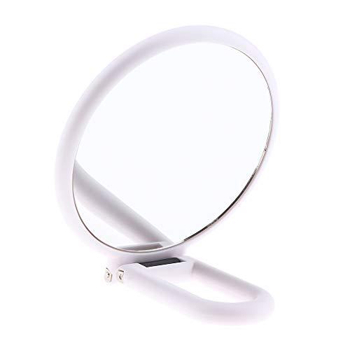 Hellery Miroir de Maquillage Double Face avec Poignée Pliable - 13,5X15X2,5 cm - # 5Grossissant X5