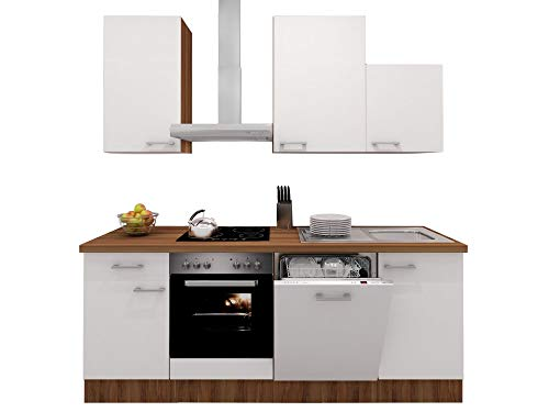 Smart Möbel Küchenzeile 220 cm Perlmutt glänzend/Nussbaum mit Herd, Dunstabzug, Geschirrspüler & Spüle - Como