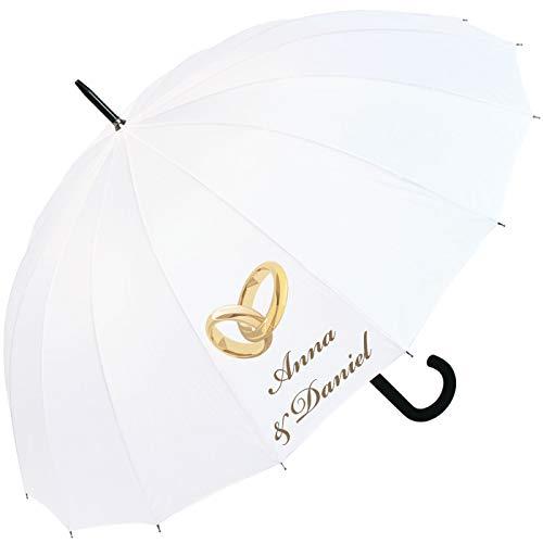 iX-brella 16-teiliger Hochzeitsschirm mit Automatik Ringe personalisiert mit Namen