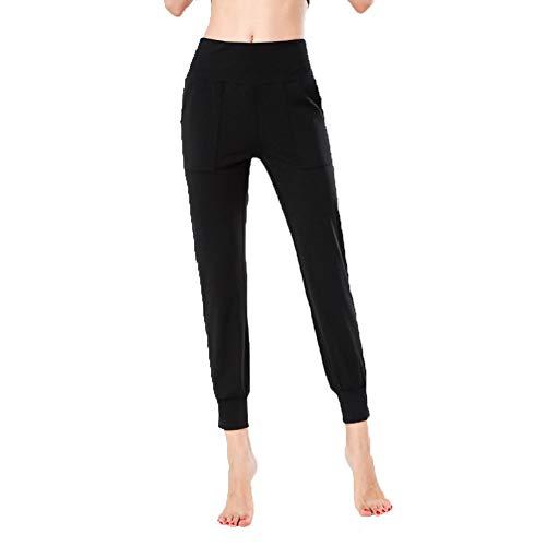 FDSVCSXV Pantalones de Yoga de Jogger de Cintura Alta Sueltos para Mujeres, Alto elástico para Correr con Bolsillos,Negro,L