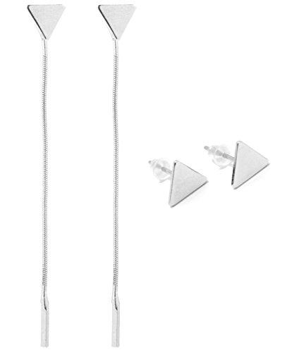 2LIVEfor lange oorbellen staafje ketting lang hangend modern zilver geometrisch oorbellen staaf oorstekers driehoekig Shoulder Duster modern