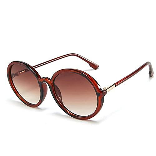 HAIGAFEW Gafas De Sol De Gran Tamaño para Mujer Gafas De Sol Redondas con Montura Grande Gafas De Calle De Verano para Mujer Proteger Los Ojos-marrón Marrón