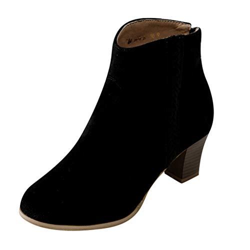 FRAUIT Stivali Donna Tacco Largo Stivaletti Ragazza Tacco Medio Scamosciati Polacchine Invernali Con Tacco Scarponcini Trekking Scarpa Boots Pelle Sneakers Autunno Inverno