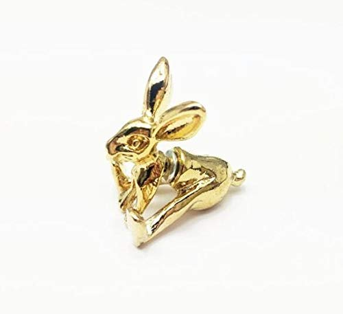 SMXGF Unieke Funny Punk Black gold wit Mijn huisdier Raabit Prik Oorbellen Stud Oorbellen 3D Animal for Cool Vrouwen Mannen sieraden en accessoires (Color : 1 piece, Size : Gold)