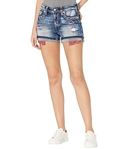 Miss Me Exposed Bandana Pocket Shorts in Dark Blue Dark Blue 33