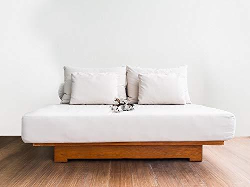 normani Premium Spannbettlaken aus Bio-Baumwolle - super weiches und hautfreundliches Spannbetttuch Farbe Weiß Größe 160 x 200 x 35 cm