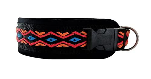 BUDDYPACK | Modernes Hundehalsband | extra-breit und weich gepolstert | für kleine, mittlere und große Hunde | Größe verstellbar | Bunt: Schwarz-Orange-Rot-Blau (S (38-43 cm))