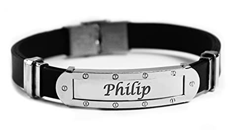 Pulsera con nombre de PHILIPP – Pulsera personalizada de silicona y tono plateado para hombre – regalo de cumpleaños, Navidad y aniversario
