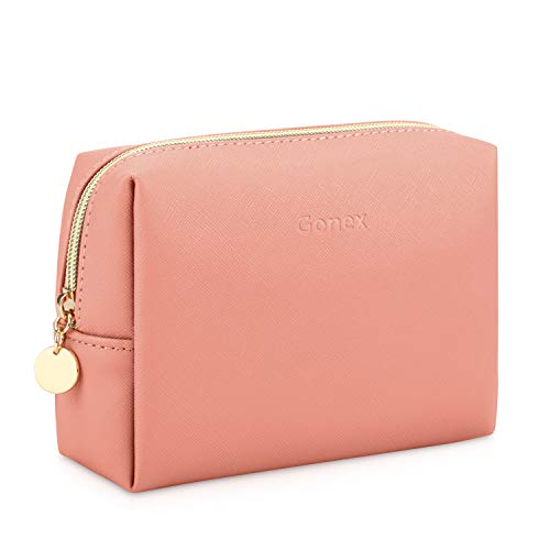 Gonex Small Makeup Bag for Purse PU Vegan Leather Travel Cosmetic Pouch Toiletry Bag for Women Girls Gifts Portable Water-Resistant Daily Storage Organzier Pink