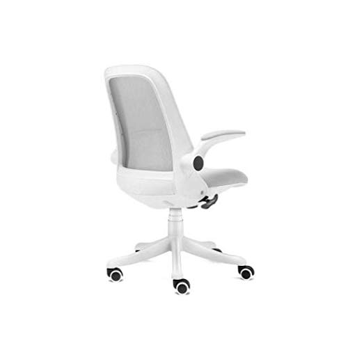 GYZCZX Office Chair Ergonomic Swivel Mesh Mid Back Computer Desk Chair with Flip Up Arms (White)