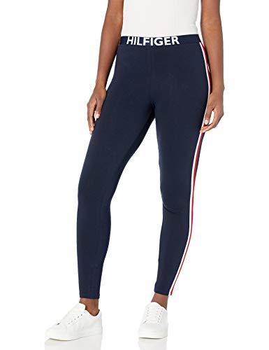 Tommy Hilfiger Women's Retro Style Hilfiger Logo Graphic Leggings Pant Lounge Pj, Navy Blazer Blue with Bright White/Apple red, Medium
