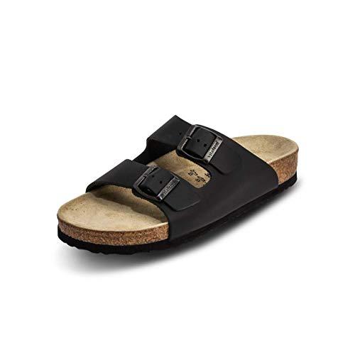 VITAFORM® Damen Und Herren Pantolette Sandale Echt Leder Mit Naturkork – Bequemer Hausschuh Mit Luftpolsterfußbett (Schwarz, Numeric_38)