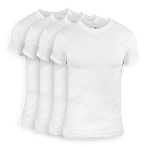 Snocks Herren Unterhemd mit Rundhalsausschnitt (4er Pack) Perfekt für unter Hemd/Pullover, Weiß, S