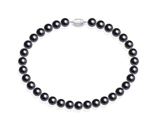 Schmuckwilly Muschelkernperlen Perlenkette Perlen Collier - grau Hochwertige Damen Muschelkernperlen Kette aus echter Muschel 45cm 12mm mk12mm090-45