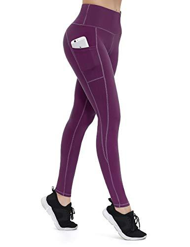 ALONG FIT Leggings Damen mit Taschen, Nicht durchsichtig Sporthose Damen Dehnbar Yogahosen für Damen, Maulbeere, L