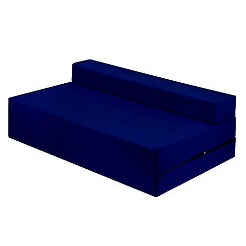 IKB Silla de invitados plegable Z cama doble futón sofá cama supletoria para adultos y niños colchón plegable Z cama - azul marino