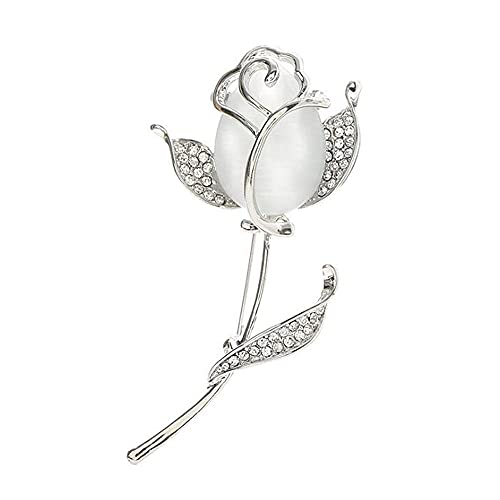 Opal Rose Broche Ropa Floral Broches Y Pines Fashion Jewelry Accesorios Fower Pins Party Decorations-Plata