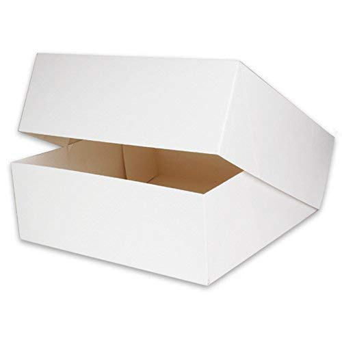 60 Tortenkartons Tortenschachteln 32x32x11cm weiß, Verpackung für Torten, Kuchen, Cupcakes Box, Torten Faltschachteln