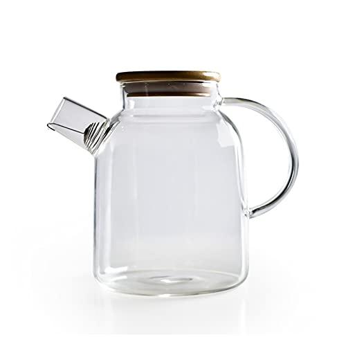 XIN NA RUI Tetera 1000ml 1800 ml Alto Resistente al Calor Borosilicato Botella de Agua de Vidrio de Gran Capacidad Tetera de Flores de filtración con Tapa de bambú (Color : 1800ml)