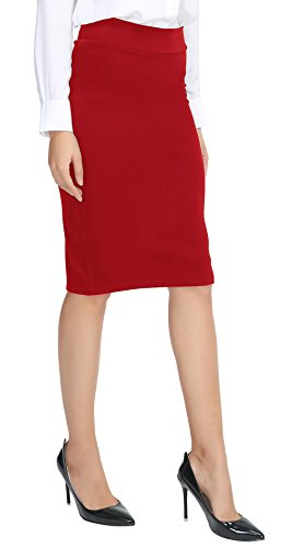 Urban CoCo Women's Elastic Waist Stretch Bodycon Midi Pencil Skirt (M, Red)