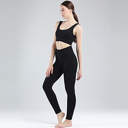 Mujer gimnasio ropa femenina alta cintura yoga pantalones tracksuit mujeres ropa de fitness 2 pieza conjunto de manga larga arriba yoga conjunto (Color : Bra Pants Black, Size : Medium)