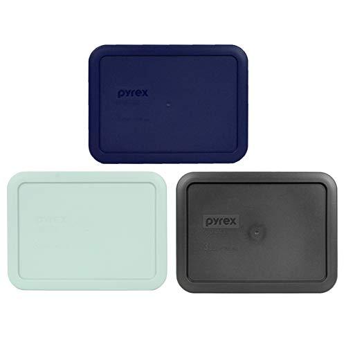 Pyrex 7210-PC 3 Cup (1) Blue (1) Muddy Aqua (1) Charcoal Grey Rectangle Plastic Lids