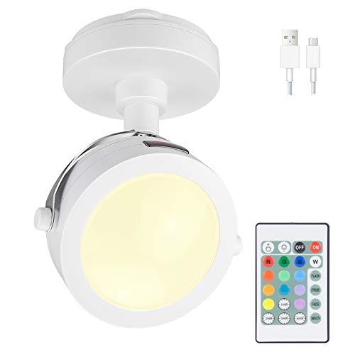 HONWELL LED Spot Lampe Drahtlose Deckenstrahler mit Fernbedienung, Wiederaufladbares Bilder mit beleuchtung Drehbar Licht Kopf, RGB Dartscheibe Beleuchtung für Spiegelanstrich Dartscheibe, Weiß