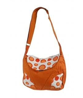 Bolso multiuso étnico bordado hippie con asas de tejido algodón color naranja. Medidas: 27xx32 cm. Aprox.