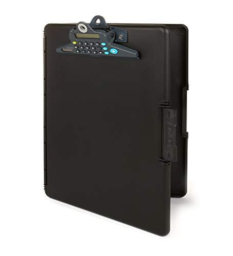 Dexas Slimcase 2 Storage Clipboard with Side Opening and Calculator, Black