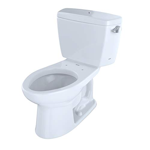 Toto CST744ELRB No.01 Eco Drake Elongated 1.28 GPF ADA Compliant Toilet with Right Lever & Bolt Down Tank Lid44; Cotton White - 2 Piece