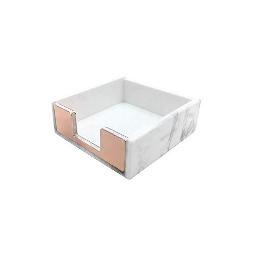 Marble Print Memo Holders Rose Gold Self Stick Notes Cube Dispenser 5mm Super Thick Notepad Cards Holder Case 3.5x3.3 Inch for Office Home School Desk Organizers (Rose Gold Tone)