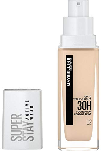 Maybelline New York Wasserfestes Make up, Foundation mit hoher Deckkraft, Langanhaltendes Gesichts-Make-up, Super Stay Active Wear, Farbe: Nr. 2 Naked Ivory (Sehr Hell), 1 x 30 ml