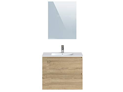 Marca Amazon -Movian Dive - Mueble de baño con espejo y lavabo, 81 x 46,5 x 68 cm, marrón