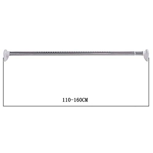 HEWEI No Drill Spring Curtain Rod Adjustable Heavy Duty Hanging Rod Removable Curtain Rod for Bathroom Window Bedroom Splitter 110-160 cm