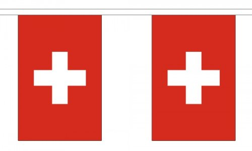 "9 Metres 30 (9"" x 6"") Flag Switzerland Swiss 100% Polyester Material Bunting Ideal Party Decoration For Street House Pubs Clubs Schools"