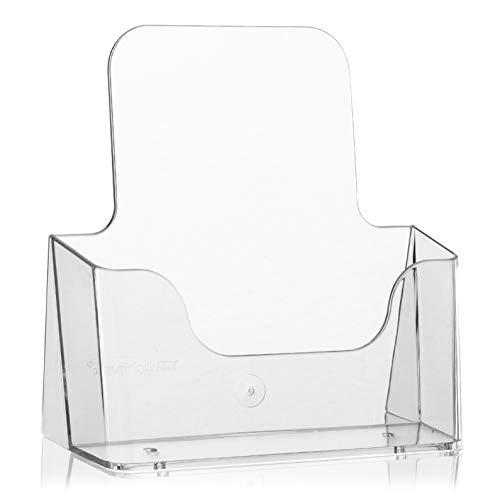 DIN A5 Tisch-Prospektständer als Flyerständer/Prospekthalter von VITAdisplays, transparent