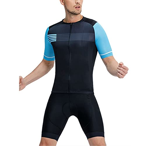 Maillots Reflectantes de Ciclismo para Hombre Conjunto de Bicicleta de Manga Corta Camisa Transpirable de Secado Rápido Pantalones Cortos de Cojín 3D (Color : Blue, Size : S)