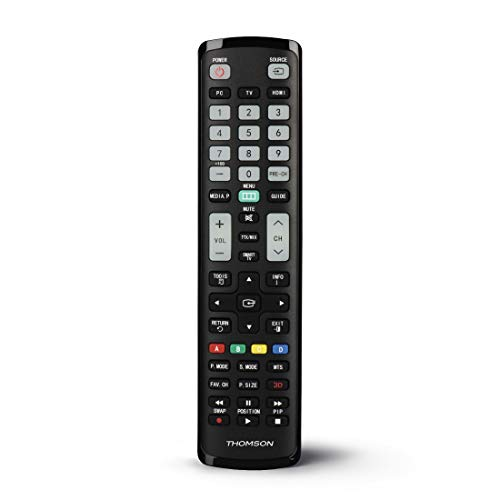 Thomson Mando a Distancia para televisores Samsung (Aprendizaje, Listo para Usar, Mando a Distancia Universal para Samsung TV, Botones Luminosos, Modo Simple para Personas Mayores), Color Negro