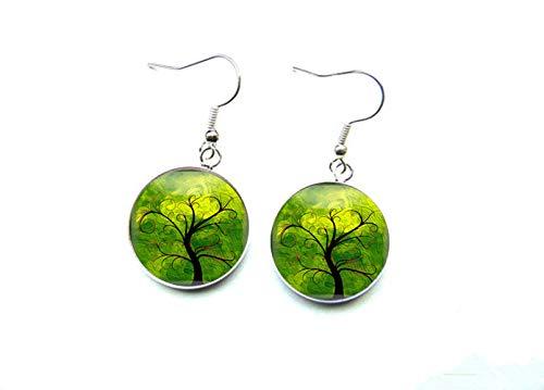 Sunshine Colgante de moda exquisito,Pendientes de árbol de la vida verde,Regalo para ella