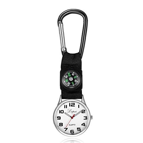 Nicedier Los niños Deportes Reloj de Cuarzo analógico Reloj del compás con el paño y el Metal del brazal de múltiples Funciones Simple Watch (Negro 1PC) Accesorios personales
