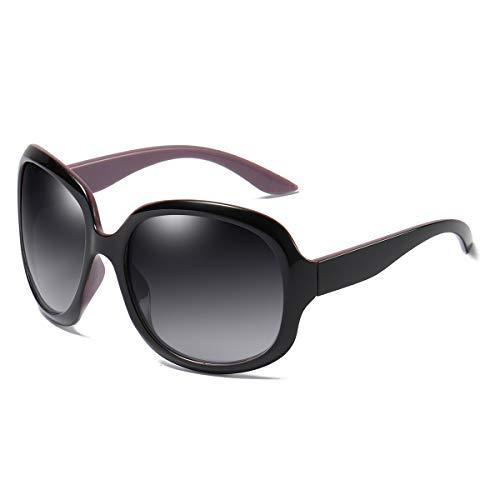 GUANGE Gafas de sol para mujer, de gran tamaño, polarizadas, protección UV400, gafas de sol para mujer, de gran tamaño, de moda, para conducir, regalos para damas, negro y morado