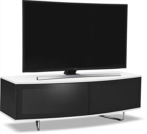 """Centurion Supports Caru Gloss Black and Gloss White Beam-Thru Remote Friendly Super-Contemporary""""D"""" Shape Design 32""""-65"""" LED/OLED/LCD TV Cabinet"""