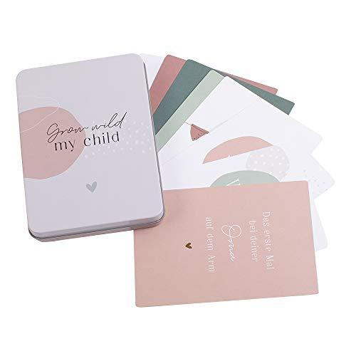 """JO & JUDY Meilensteinkarten""""Baby"""" - 50 individuelle Karten mit den wichtigsten Entwicklungsschritten eines Babies - mit Metallbox"""