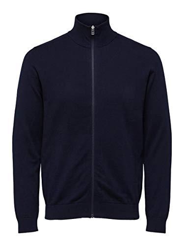 SELECTED HOMME Male Strickjacke Pima-Baumwoll LNavy Blazer