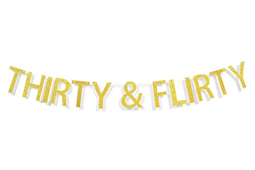 Qttier™ Thirty & Flirty Gold Glitter Letters Banner, Dirty 30, Thirsty 30, 30th Birthday Anniversary Party Decorations