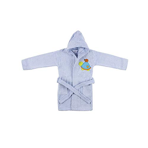 Interbaby Peignoir Enfants 100% Coton Bleu