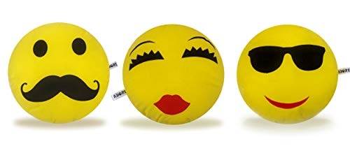 Adore Soft Plush Emoji Smiley Pillows Set of 3 20 cm Size Made in India