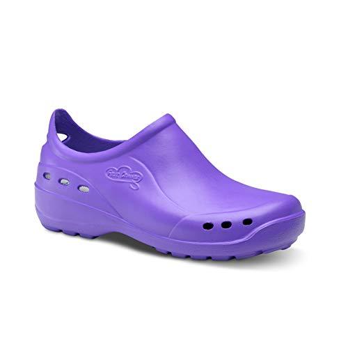 Feliz Caminar - Zapato Sanitario Flotantes Shoes Lavanda, 40 | Zueco Cerrado Unisex Antideslizantes y Cómodos para Hombre y Mujer | para Trabajo en Industria, Sanidad, Hostelería, Clínicas